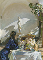 painting of women dining