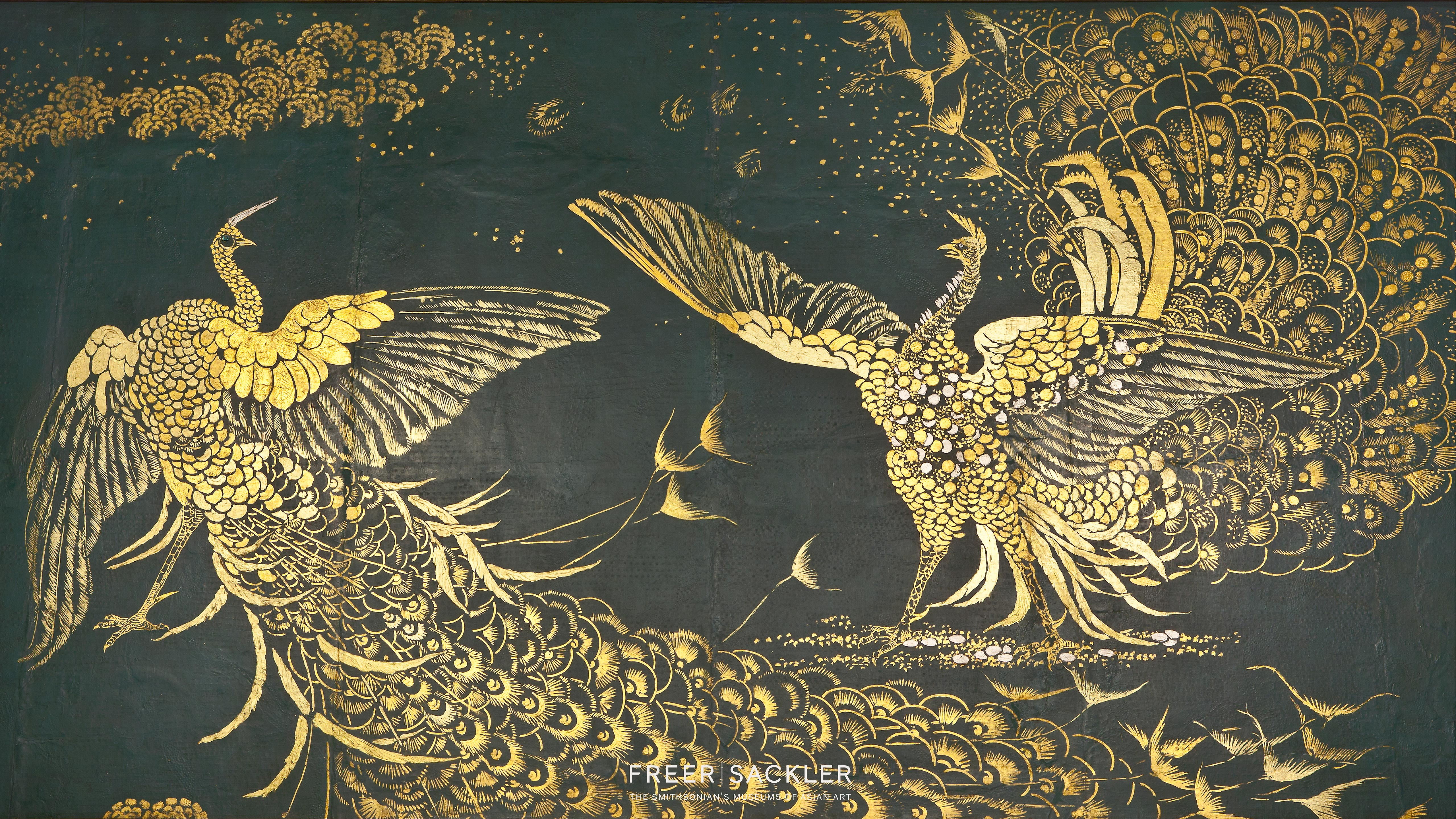 Detail of Whistler's Fighting Peacocks in gold on turquoise