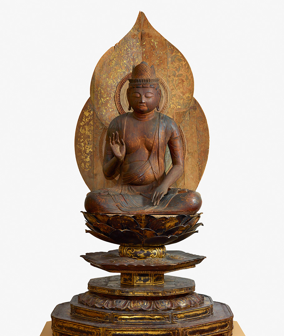 F1962.21 carved wooden buddha