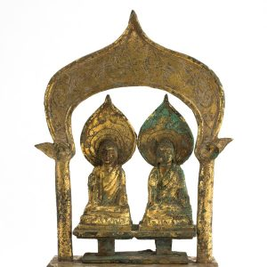 detail, two buddhas side by side, gilt bronze sculpture, S2014.20