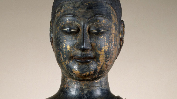 detail of the face of the Walters Buddha