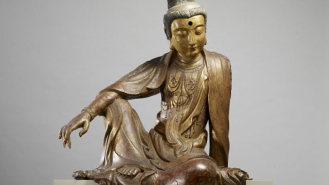 detail, bodhisattva with arm on his knee