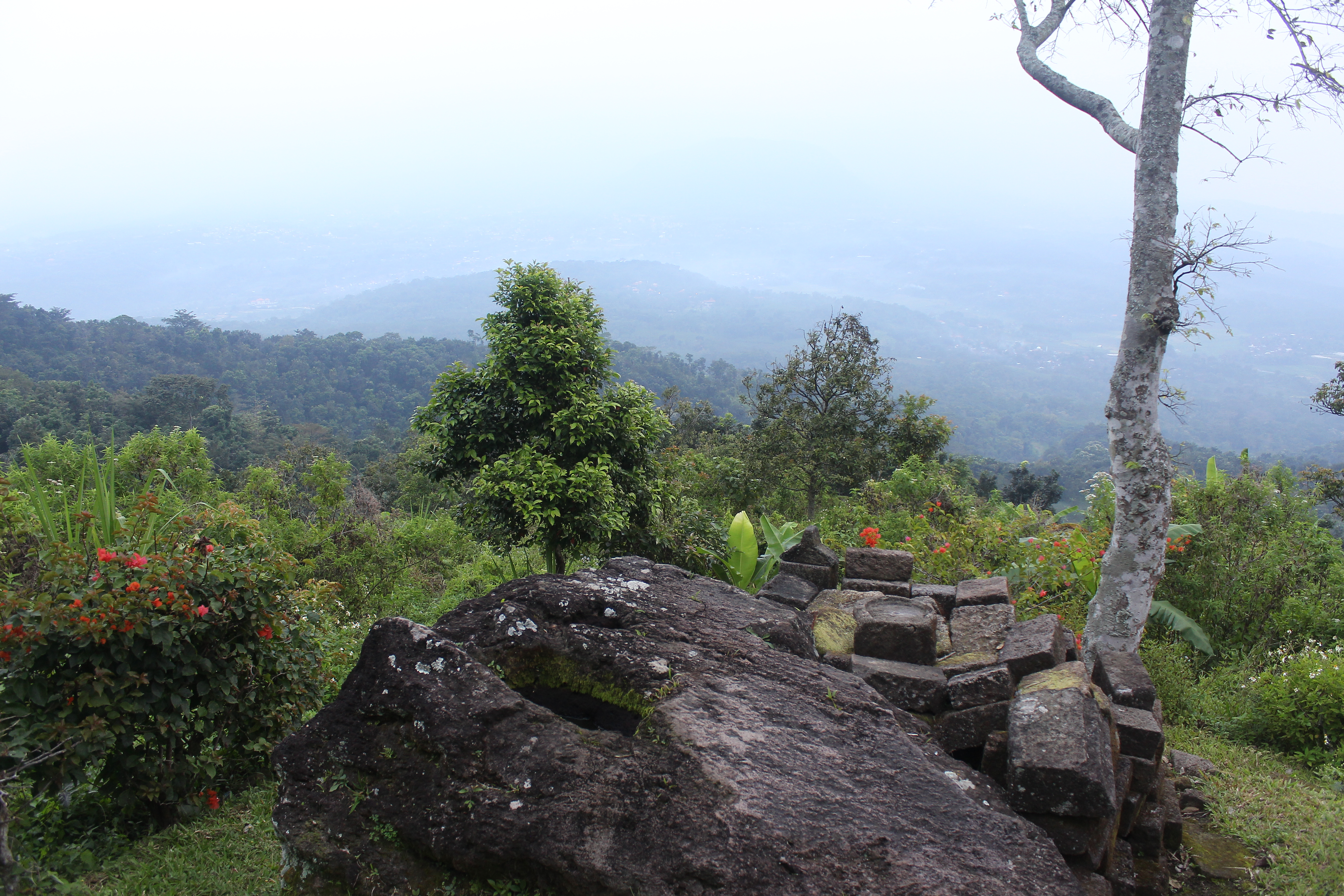 View from a mountaintop over jungle and rock