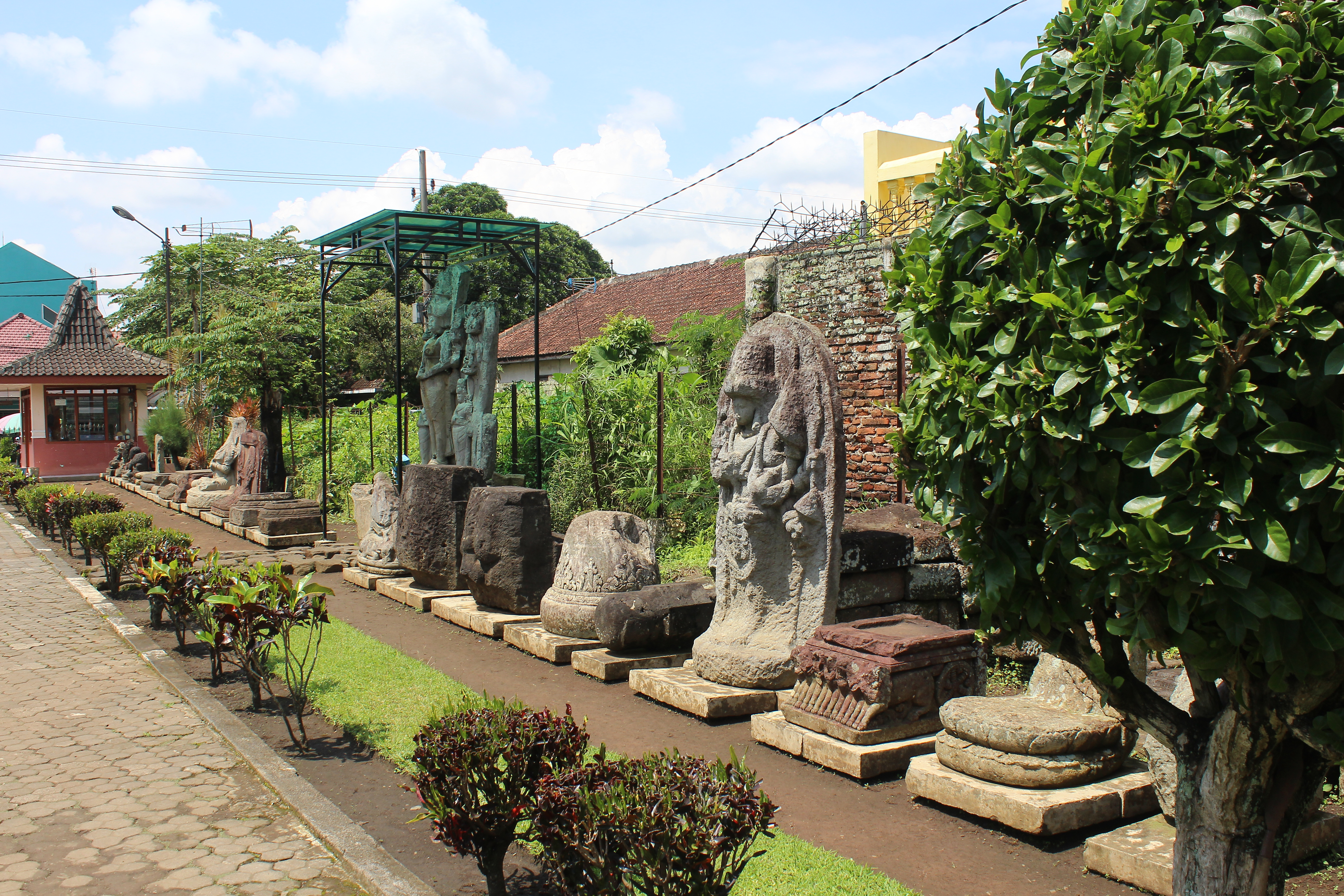 Stone statues in a line