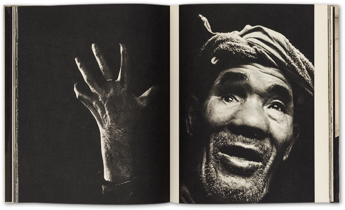 a sample spread from the 11:02 Nagasaki photobook, a hand against a black background, and a man with a wrapped head against a black background