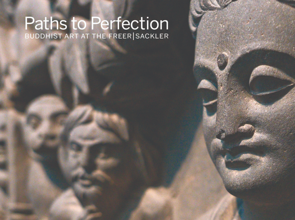 detail from the book cover for paths to perfection, showing a close up view of a stone carving of the life of the buddha
