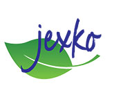 jexko logo, handwritten blue text on a leaf