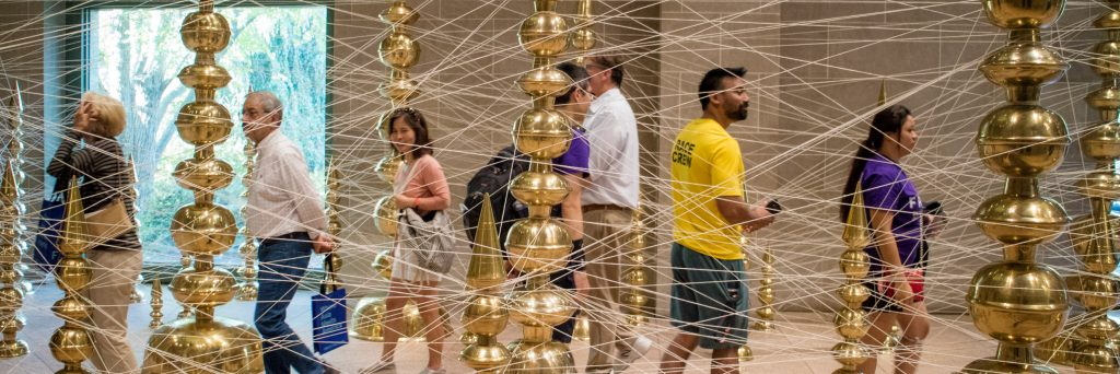in gallery view of Subodh Gupta's installation at the Sackler
