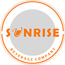sunrise beverage company logo, orange block text in a circle