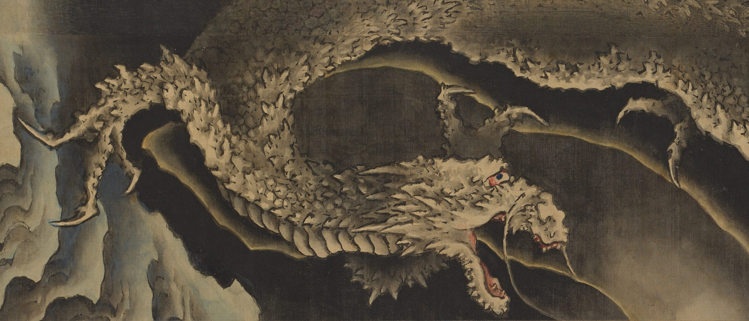 detail from a hokusai painting of a dragon, rotated to appear horizontal, of a dragon in black ink on a tan background