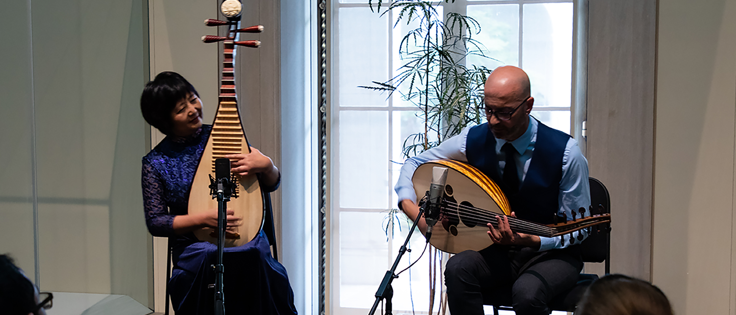 Gao Hong and Issam Rafea perform on the Chinese and Arab lutes on September 14, 2019.