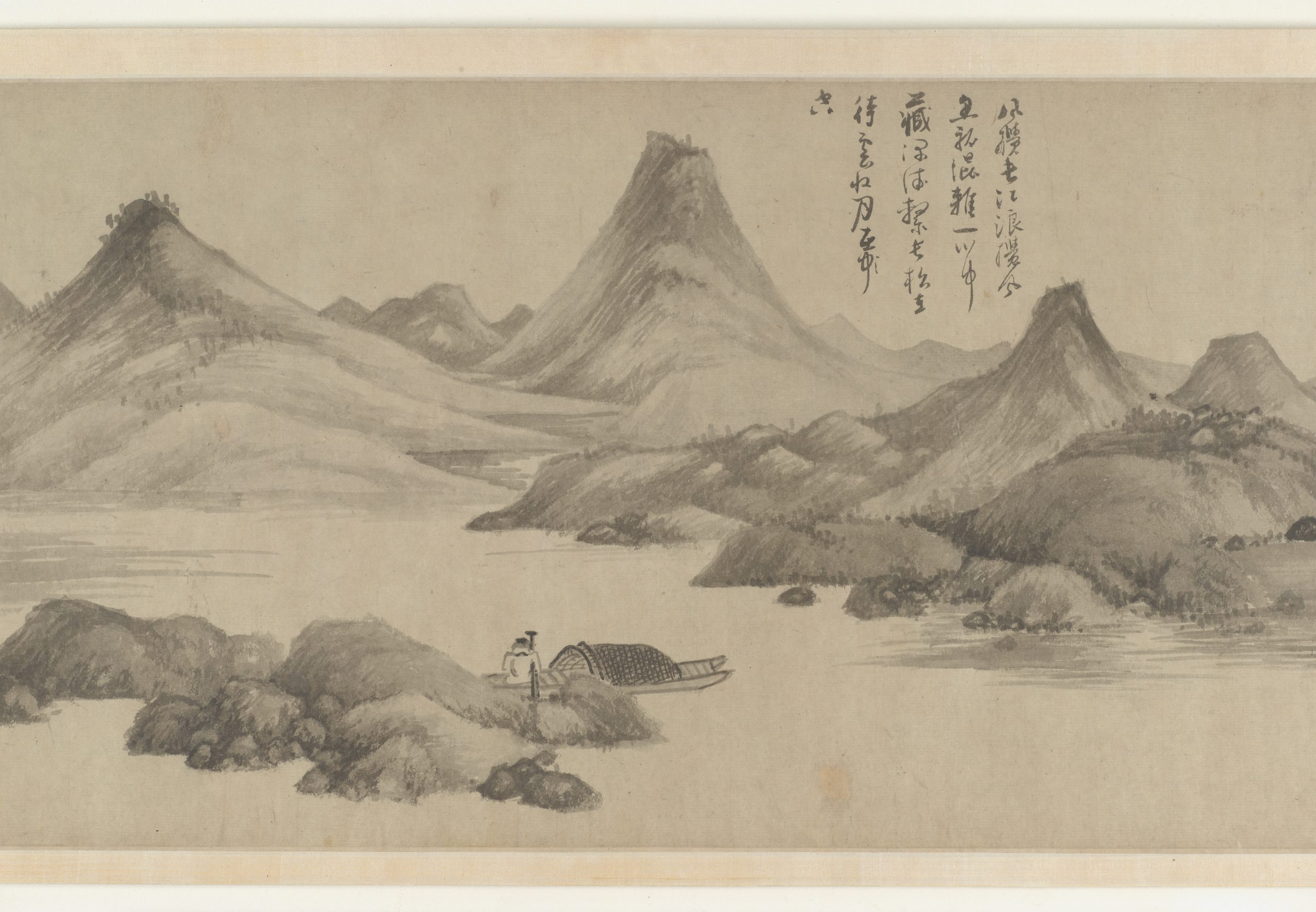 illustration of a man fishing on a lake surrounded by moutains