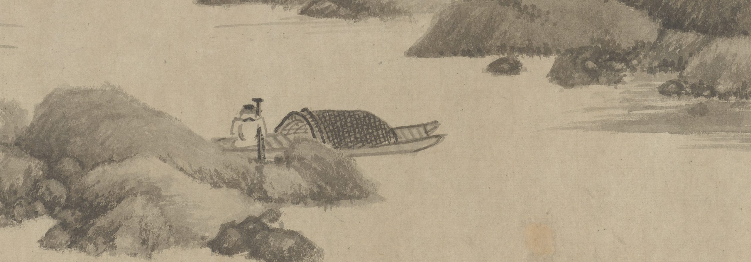 detail of pen and ink illustration of a man in a mountainous terrain