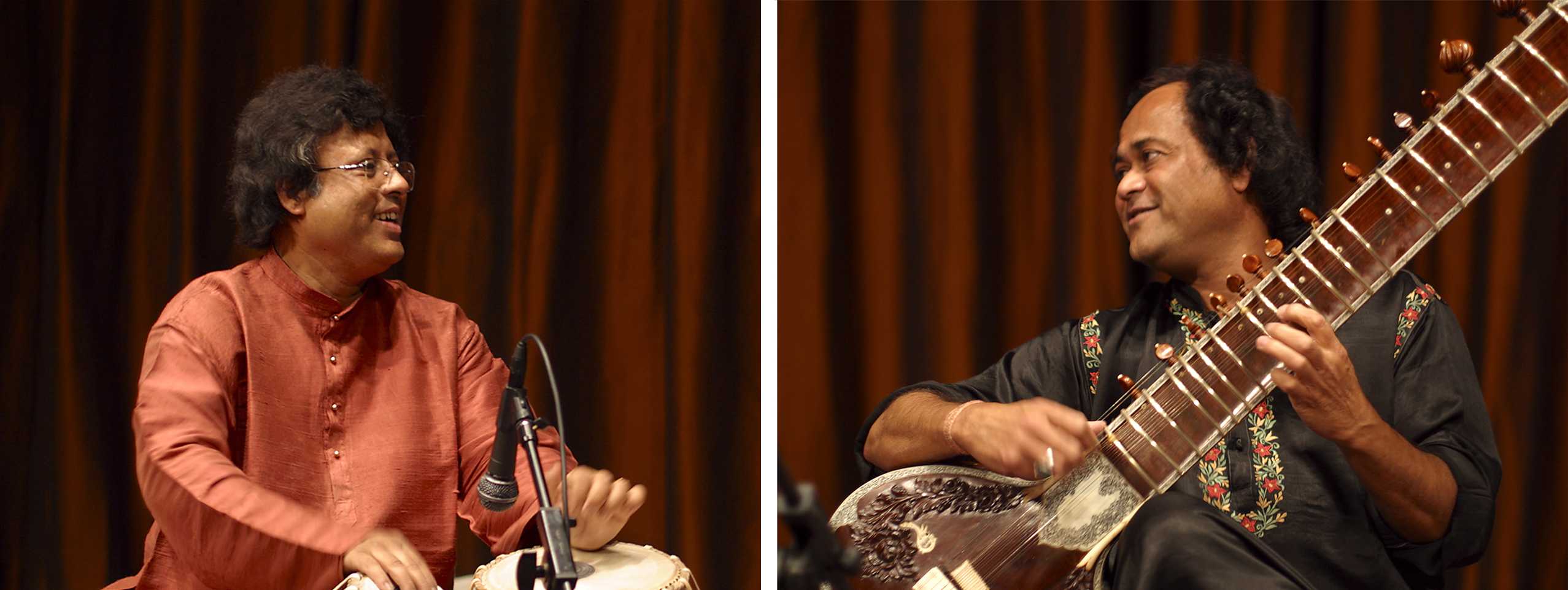 Krishna Mohan Bhatt performs Indian ragas on sitar, accompanied by tablas virtuoso Anindo Chatterjee on percussion. Their concert features an extensive rendition of raga Yaman Kalyan as well as music inspired by folk tunes and Bengali devotional songs.