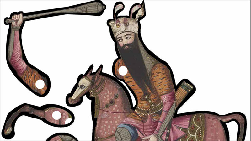 detail from a puppet template showing a bearded rider with a club